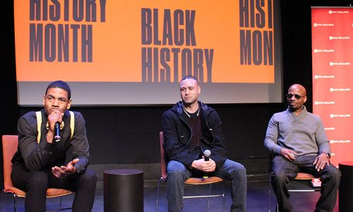 Three people from film After Now speaking on stage at screening event