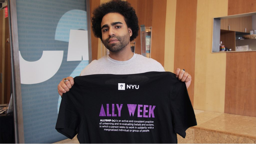 Former NYU PEP student on the Washington Square Campus for NYU's Ally Week