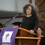 Kim Wilson speaking at 2019 graduation
