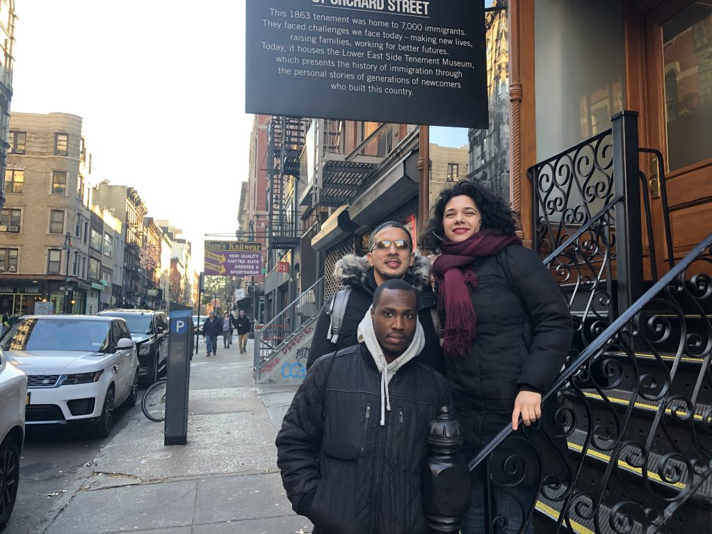 Two PEP students and Professor visiting the Tenement Museum